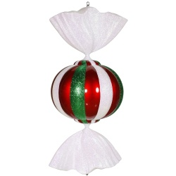 36 Inch Red White And Green Candy Christmas Ornament - Shatterproof