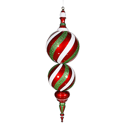 30 Inch Red White And Green Candy Christmas Finial Ornament - Shatterproof