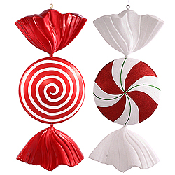 37 Inch Red And White Peppermint Spiral Candy Decoration 2 per Set