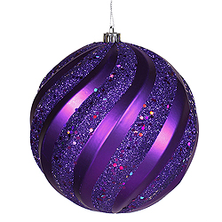 6 Inch Purple Matte with Glitter Swirl Round Christmas Ball Ornament