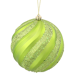 6 Inch Lime Matte with Glitter Swirl Round Christmas Ball Ornament