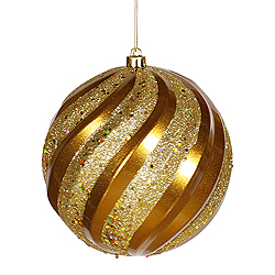 6 Inch Antique Gold Matte with Glitter Swirl Round Christmas Ball Ornament