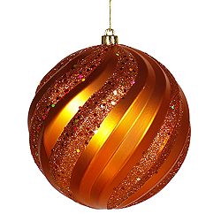 6 Inch Burnich Orange Matte with Glitter Swirl Round Christmas Ball Ornament