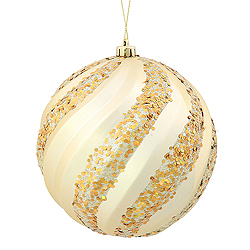 6 Inch Champagne Matte with Glitter Swirl Round Christmas Ball Ornament
