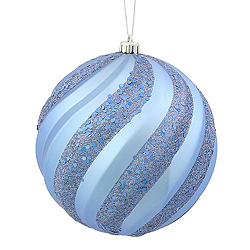 6 Inch Periwinkle Blue Matte with Glitter Swirl Round Christmas Ball Ornament