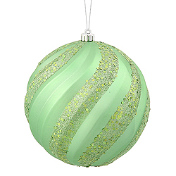 6 Inch Celadon Green Matte with Glitter Swirl Round Christmas Ball Ornament