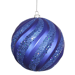 8 Inch Blue Matte with Glitter Swirl Round Christmas Ball Ornament