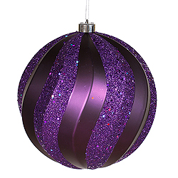 8 Inch Purple Matte with Glitter Swirl Round Christmas Ball Ornament
