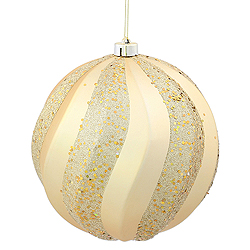 8 Inch Gold Matte with Glitter Swirl Round Christmas Ball Ornament