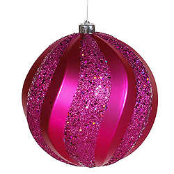 8 Inch Cerise Matte with Glitter Swirl Round Christmas Ball Ornament