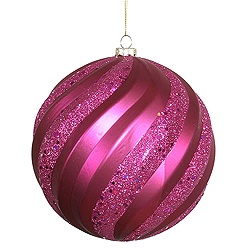 8 Inch Magenta Matte with Glitter Swirl Round Christmas Ball Ornament