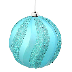 8 Inch Teal Matte with Glitter Swirl Round Christmas Ball Ornament