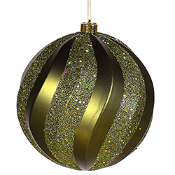8 Inch Dark Olive Matte with Glitter Swirl Round Christmas Ball Ornament