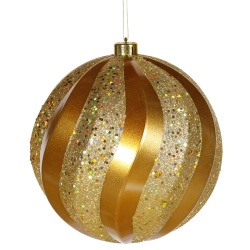 8 Inch Antique Gold Candy with Glitter Swirl Round Christmas Ball Ornament