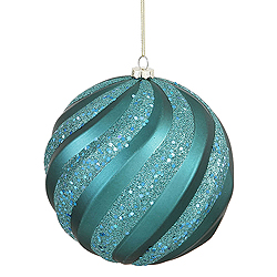 8 Inch Emerald Matte with Glitter Swirl Round Christmas Ball Ornament