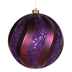 8 Inch Plum Matte with Glitter Swirl Round Christmas Ball Ornament