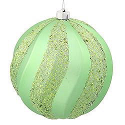 8 Inch Celadon Green Matte with Glitter Swirl Round Christmas Ball Ornament