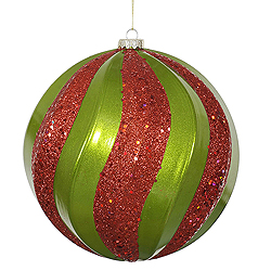 8 Inch Lime And Red Candy with Glitter Swirl Round Christmas Ball Ornament