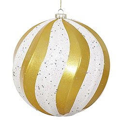 8 Inch Gold And White Candy with Glitter Swirl Round Christmas Ball Ornament