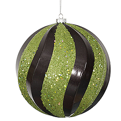 8 Inch Black And Lime Candy with Glitter Swirl Round Christmas Ball Ornament