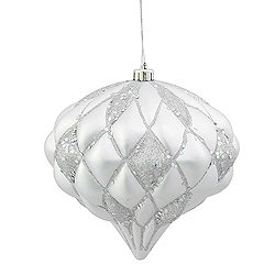 5.7 Inch Silver Matte Glitter Diamond Christmas Ornament