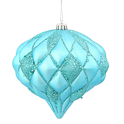 5.7 Inch Teal Matte Glitter Diamond Christmas Ornament
