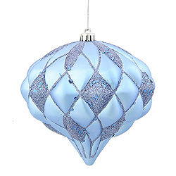 5.7 Inch Periwinkle Blue Matte Glitter Diamond Christmas Ornament