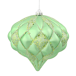 5.7 Inch Celadon Green Matte Glitter Diamond Christmas Ornament