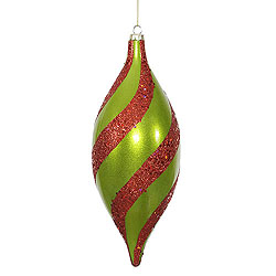 11 Inch Lime And Red Matte Glitter Spiral Drop Ornament