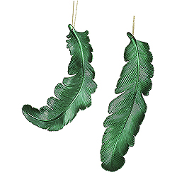 6 Inch Green Matte Feather Christmas Ornament 6 per Set