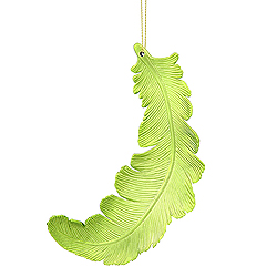 6 Inch Lime Green Matte Feather Christmas Ornament 6 per Set