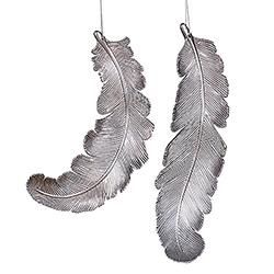 11 Inch Pewter Glitter Swirl Matte Feather Ornament Box of 6