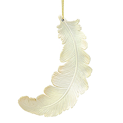 6 Inch Champagne Matte Feather Christmas Ornament 6 per Set