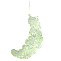 6 Inch Celadon Green Matte Feather Christmas Ornament 6 per Set