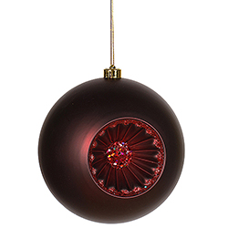 8 Inch Burgundy Matte Old Fashioned Reflector Christmas Ball Ornament