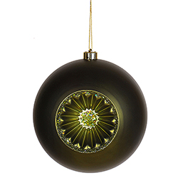 8 Inch Dark Olive Green Matte Old Fashioned Reflector Christmas Ball Ornament