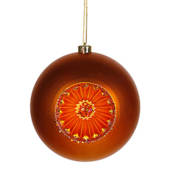 8 Inch Burnish Orange Matte Old Fashioned Reflector Christmas Ball Ornament