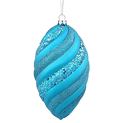 8 Inch Teal Matte Glitter Swirl Drop Christmas Ornament