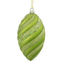 8 Inch Lime Matte Glitter Swirl Drop Christmas Ornament
