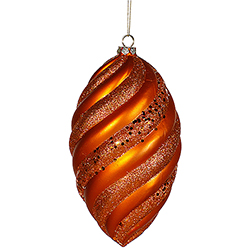 8 Inch Burnish Orange Matte Glitter Swirl Drop Christmas Ornament