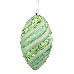8 Inch Celadon Green Matte Glitter Swirl Drop Christmas Ornament