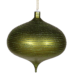 8 Inch Dark Olive Matte Old Fashion Glitter Onion Ornament
