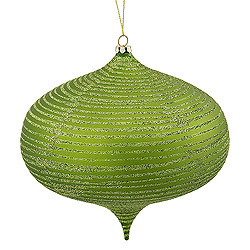 8 Inch Lime Matte Glitter Onion Ornament
