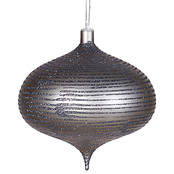 8 Inch Pewter Matte Old Fashion Glitter Onion Ornament