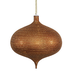 8 Inch Copper Matte Glitter Onion Ornament