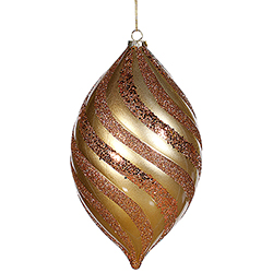 10.5 Inch Antique Gold Glitter Swirl Matte Drop Ornament