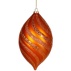 10.5 Inch Burnish Orange Glitter Swirl Matte Drop Ornament