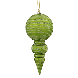 7 Inch Lime Green Matte Finish with Glitter Finial Christmas Ornament Shatterproof