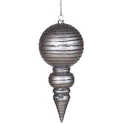 7 Inch Pewter Glitter Matte Finial - Set Of 6