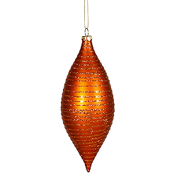 7 Inch Burnish Orange Matte Glitter Drop Ornament 2 per Set